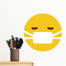 Sick Mask Yellow Cute Lovely Online Chat Emoji Illustration Pattern Removable Wall Sticker Art Decals Mural DIY Wallpaper for Room Decal