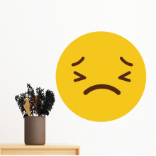 Horrible Terrible Yellow Cute Lovely Online Chat Emoji Illustration Pattern Removable Wall Sticker Art Decals Mural DIY Wallpaper for Room Decal