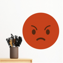 Angry Red Cute Lovely Online Chat Emoji Illustration Pattern Removable Wall Sticker Art Decals Mural DIY Wallpaper for Room Decal