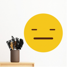 Speechless Yellow Cute Lovely Online Chat Emoji Illustration Pattern Removable Wall Sticker Art Decals Mural DIY Wallpaper for Room Decal