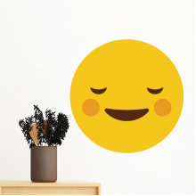 Shy Yellow Cute Lovely Online Chat Emoji Illustration Pattern Removable Wall Sticker Art Decals Mural DIY Wallpaper for Room Decal