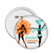 Sexy Hula Outline Brazilian Carnival Slogan Brazil Cultural Elements Round Pins Badge Button Clothing Decoration Gift 5pcs