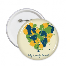 Yellow Blue Green Heart-shaped My Lovely Brazil Slogan Brazil Culture Round Pins Badge Button Clothing Decoration Gift 5pcs