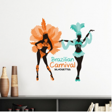 Sexy Hula Silhouette Brazilian Carnival Slogan Brazil Cultural Elements Removable Wall Sticker Art Decals Mural DIY Wallpaper for Room Decal