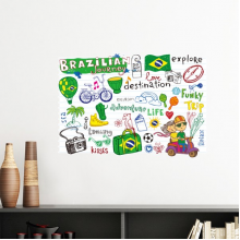 Adventure Life Do Not Disturb Relax Brazil Journey Brazil Culture Element Removable Wall Sticker Art Decals Mural DIY Wallpaper for Room Decal