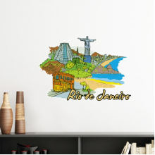 Hand-painted Brazil Rio De Janeiro Coastal City Scenery Removable Wall Sticker Art Decals Mural DIY Wallpaper for Room Decal
