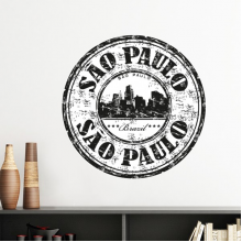 Sao Paulo City Ink Painting Slogan Brazil Cultural Element Removable Wall Sticker Art Decals Mural DIY Wallpaper for Room Decal