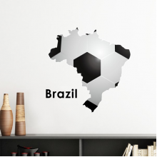 White Black Soccer Brazil Map Shape Brazil Slogan Removable Wall Sticker Art Decals Mural DIY Wallpaper for Room Decal