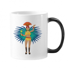 Sexy Hot Hula Samba Brazil Culture Elment Morphing Heat Sensitive Changing Color Mug Cup Gift Milk Coffee With Handles 350 ml