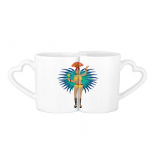 Sexy Hot Hula Samba Brazil Culture Elment Lovers' Mug Lover Mugs Set White Pottery Ceramic Cup Gift Milk Coffee Cup with Handles