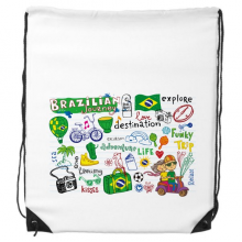 Adventure Life Do Not Disturb Relax Brazil Journey Brazil Culture Element Drawstring Backpack Fine Lines Shopping Creative Handbag Gift Shoulder Environmental Polyester Bag