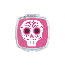 Pink Eyes Skull Mexico National Culture Illustration Square Compact Makeup Pocket Mirror Portable Cute Small Hand Mirrors Gift