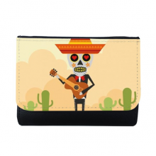 Cactus Hat Skull Playing Guitar Mexico Happy The Day Of The Dead Illustration Multi-Function Faux Leather Wallet Card Purse Gift
