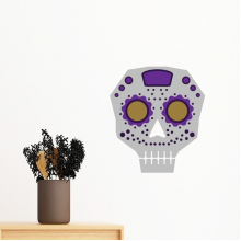 Flower-shaped Purple Eyes Skull Mexico National Culture Illustration Removable Wall Sticker Art Decals Mural DIY Wallpaper for Room Decal