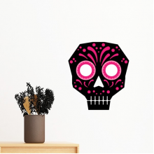 Pink Eyes Skull Mexico National Culture Illustration Removable Wall Sticker Art Decals Mural DIY Wallpaper for Room Decal