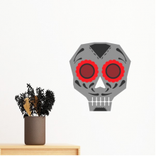 Flower-shaped Red Eyes Skull Mexico National Culture Illustration Removable Wall Sticker Art Decals Mural DIY Wallpaper for Room Decal