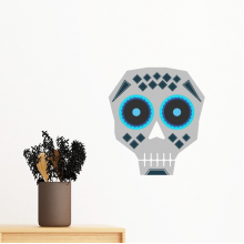 Blue Eyes Skull Mexico National Culture Illustration Removable Wall Sticker Art Decals Mural DIY Wallpaper for Room Decal