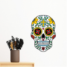 Cirrus Skull Flower Cross Mexico Culture Illustration Removable Wall Sticker Art Decals Mural DIY Wallpaper for Room Decal