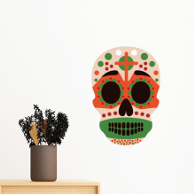 Cross Skull Mexico Culture Flag Color Illustration Removable Wall Sticker Art Decals Mural DIY Wallpaper for Room Decal