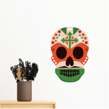Skull Cross Mexico Culture Flag Color Illustration Removable Wall Sticker Art Decals Mural DIY Wallpaper for Room Decal