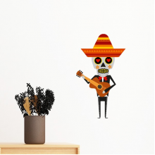 Cactus Hat Skull Playing Guitar Mexico Happy The Day Of The Dead Illustration Removable Wall Sticker Art Decals Mural DIY Wallpaper for Room Decal