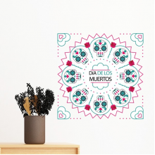 Skull Rose Heart-shaped Mexico Culture Happy The Day Of The Dead Illustration Removable Wall Sticker Art Decals Mural DIY Wallpaper for Room Decal