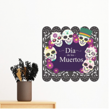 Skull Hat Flower Mexico Happy The Day Of The Dead Illustration Removable Wall Sticker Art Decals Mural DIY Wallpaper for Room Decal