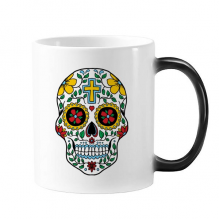 Cirrus Skull Flower Cross Mexico Culture Illustration Morphing Heat Sensitive Changing Color Mug Cup Gift Milk Coffee With Handles 350 ml