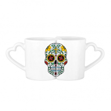 Cirrus Skull Flower Cross Mexico Culture Illustration Lovers' Mug Lover Mugs Set White Pottery Ceramic Cup Gift Milk Coffee Cup with Handles