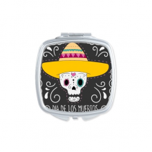 Hat Flower Heart-shaped Skull Mexico Happy The Day Of The Dead Square Compact Makeup Pocket Mirror Portable Cute Small Hand Mirrors Gift
