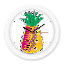 Hand-painted Food Pineapple Mexicon Culture Element Illustration Silent Non-ticking Round Wall Decorative Clock Battery-operated Clocks Gift Home Decal