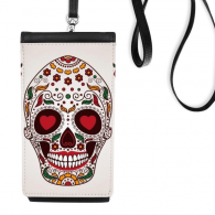 Flower Cirrus Heart-shape Eyes White Sugar Skull Mexico Culture Faux Leather Smartphone Hanging Purse Black Phone Wallet Gift