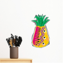Hand-painted Food Pineapple Mexicon Culture Element Illustration Removable Wall Sticker Art Decals Mural DIY Wallpaper for Room Decal
