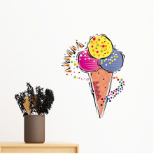 Red Yellow Blue Ice Cream Ball Mexicon Culture Element Illustration Removable Wall Sticker Art Decals Mural DIY Wallpaper for Room Decal
