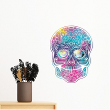 Flower Cirrus Colorful Skull Mexico National Culture Illustration Removable Wall Sticker Art Decals Mural DIY Wallpaper for Room Decal