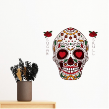 Flower Cirrus Heart-shape Eyes White Sugar Skull Mexico Culture Removable Wall Sticker Art Decals Mural DIY Wallpaper for Room Decal