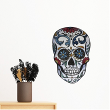 Flower Cirrus Gray Skull Mexico National Culture Illustration Removable Wall Sticker Art Decals Mural DIY Wallpaper for Room Decal