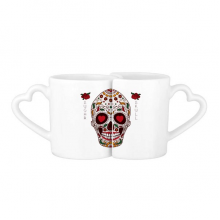 Flower Cirrus Heart-shape Eyes White Sugar l Mexico Culture Lovers' Mug Lover Mugs Set White Pottery Ceramic Cup Gift Milk Coffee Cup with Handles