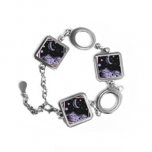 Purple Mountain Moon Stars Mexicon Culture Element Engraving Square Shape Metal Bracelet Love Gifts Jewelry With Chain Decoration