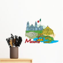 Mexico Culture Flag Famous Tourist Spots Graffiti Removable Wall Sticker Art Decals Mural DIY Wallpaper for Room Decal