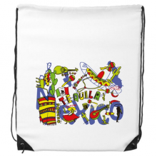 Tequila Sombrero Guitar Chili Mexico Culture Elment Drawstring Backpack Shopping Sports Bags Gift