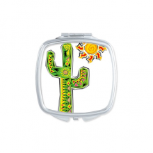 Green Hand-painted Cactus Mexico Culture Element Square Compact Makeup Pocket Mirror Portable Cute Small Hand Mirrors Gift