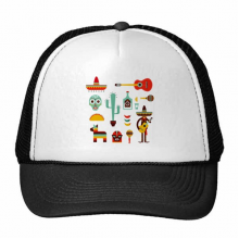 Sombrero Cactus Tequila Guitar Chili Mexico Culture Elment Trucker Hat Baseball Cap Nylon Mesh Hat Cool Children Hat Adjustable Cap Gift