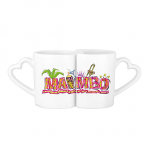 Mexico Culture Elment Pink Mambo Slogan Lovers' Mug Lover Mugs Set White Pottery Ceramic Cup Gift Milk Coffee Cup with Handles