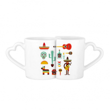 Sombrero Cactus Tequila Guitar Chili Mexico Culture Elment Lovers' Mug Lover Mugs Set White Pottery Ceramic Cup Gift Milk Coffee Cup with Handles