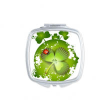 Ladybird Roundness Four Leaf Clover Ireland St.Patrick's Day Square Compact Makeup Pocket Mirror Portable Cute Small Hand Mirrors Gift