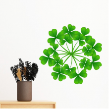 Four Leaf Clover Circle Ireland St.Patrick's Day Removable Wall Sticker Art Decals Mural DIY Wallpaper for Room Decal