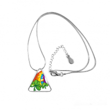 Four Leaf Clover Rainbow Ireland St.Patrick's Day Triangle Shape Pendant Necklace Jewelry With Chain Decoration Gift