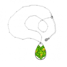 Four Leaf Clover Heart Ireland St.Patrick's Day Teardrop Shape Pendant Necklace Jewelry With Chain Decoration Gift