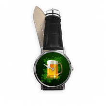 Beer Four Leaf Clover Yellow Ireland St.Patrick's Day Quartz Analog Wrist Business Casual Watch with Stainless Steel Case Gift